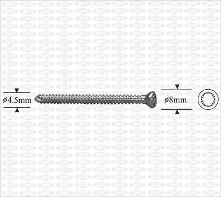 Self-Taping Cortex Screw 4.5mm, Hexagonal Socket.